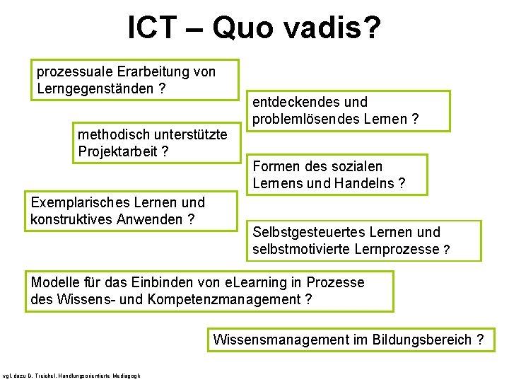 ICT – Quo vadis? prozessuale Erarbeitung von Lerngegenständen ? methodisch unterstützte Projektarbeit ? Exemplarisches