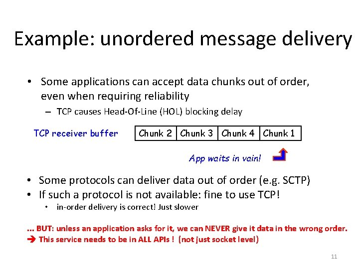 Example: unordered message delivery • Some applications can accept data chunks out of order,