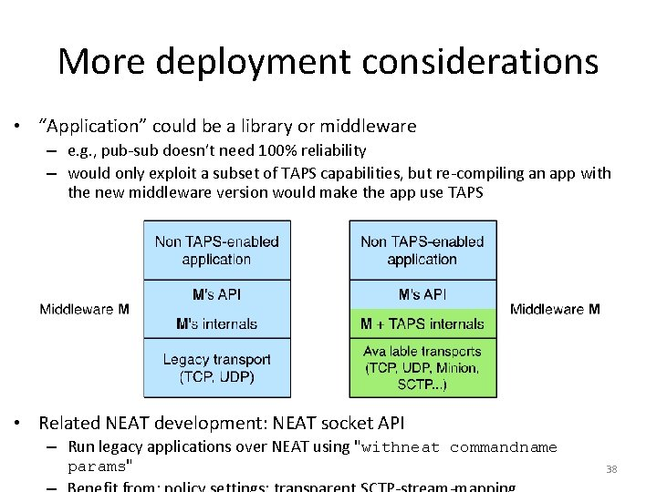 """More deployment considerations • """"Application"""" could be a library or middleware – e. g."""