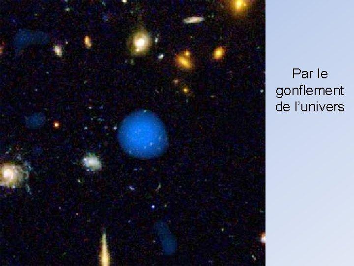 Par le gonflement de l'univers