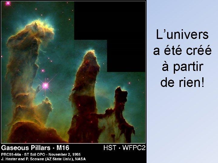 L'univers a été créé à partir de rien!