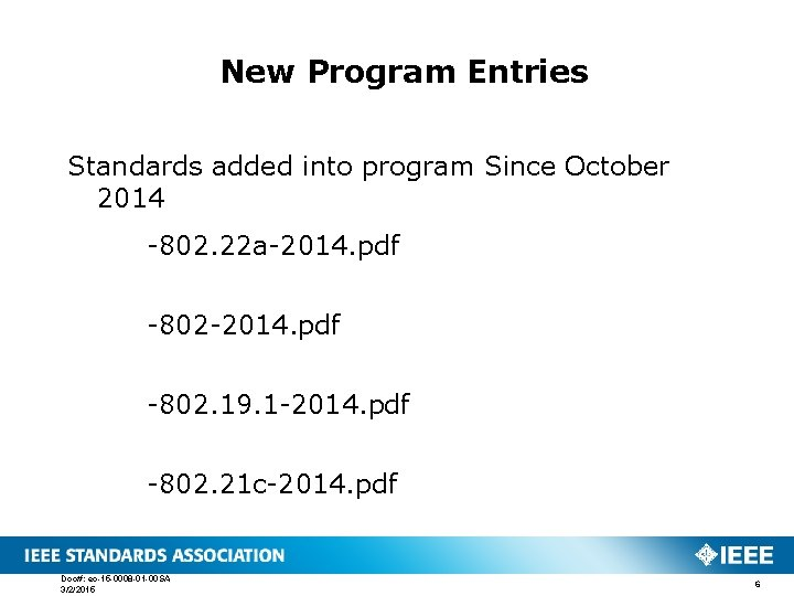 New Program Entries Standards added into program Since October 2014 -802. 22 a-2014. pdf