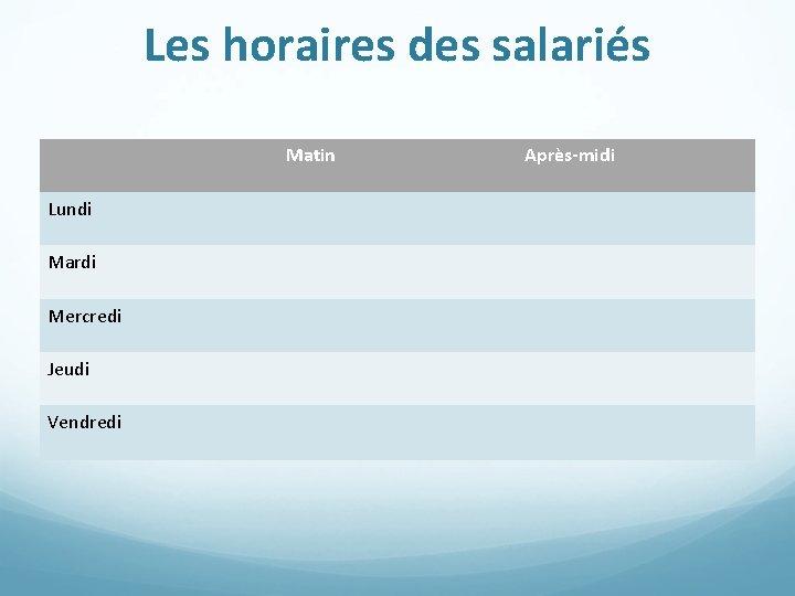 Les horaires des salariés Matin Lundi Mardi Mercredi Jeudi Vendredi Après-midi