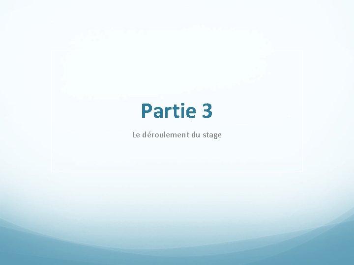 Partie 3 Le déroulement du stage