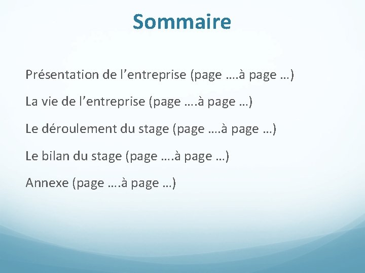 Sommaire Présentation de l'entreprise (page …. à page …) La vie de l'entreprise (page