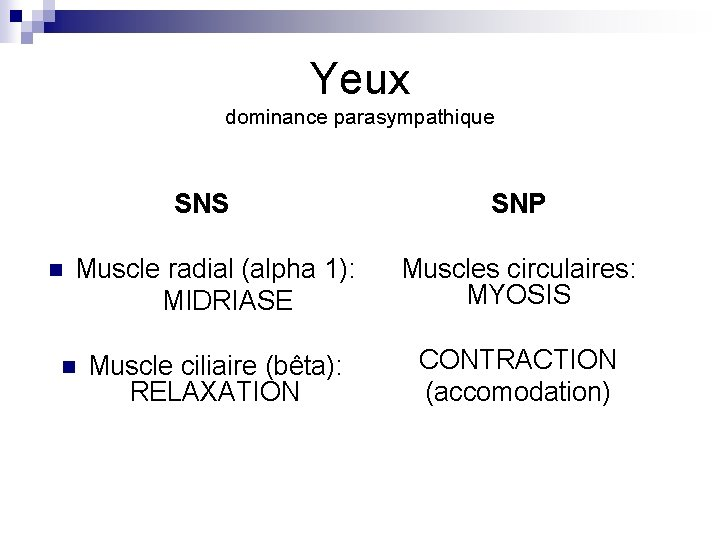 Yeux dominance parasympathique SNS n SNP Muscle radial (alpha 1): MIDRIASE Muscles circulaires: MYOSIS