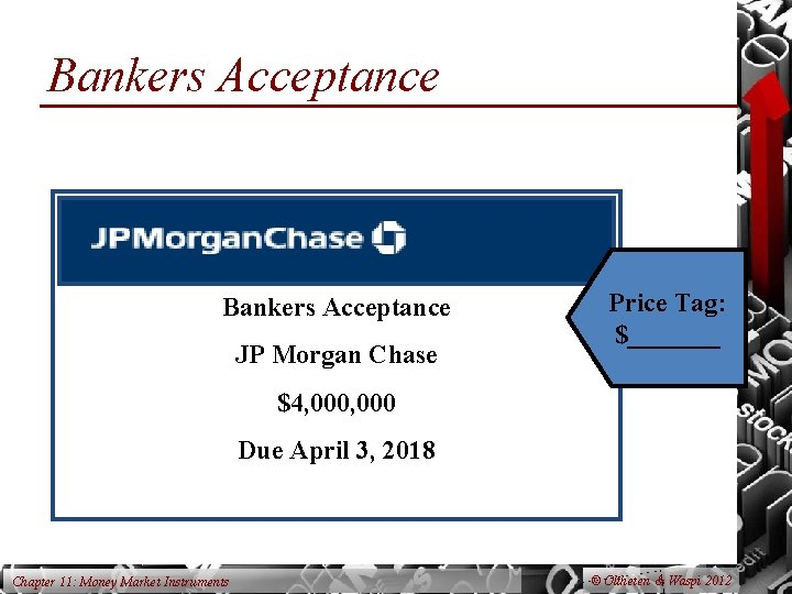 Bankers Acceptance JP Morgan Chase Price Tag: $_______ $4, 000 Due April 3, 2018