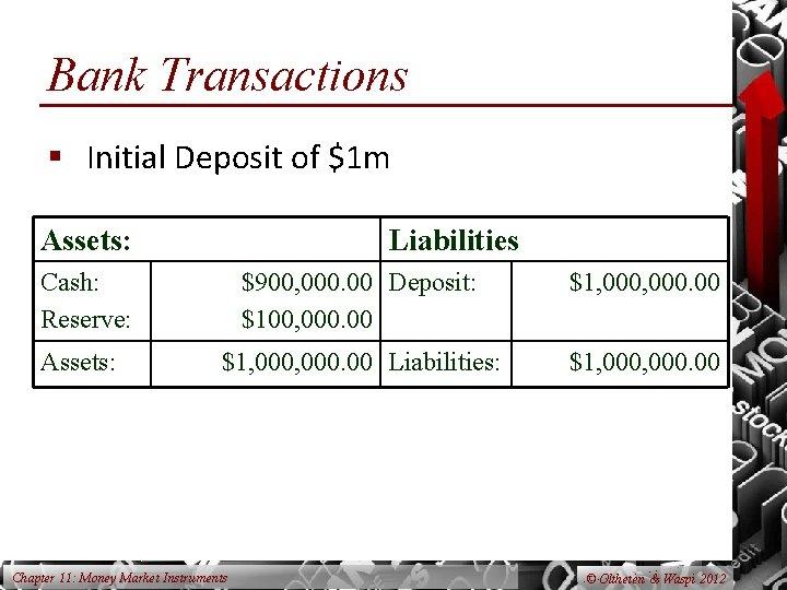 Bank Transactions § Initial Deposit of $1 m Assets: Liabilities Cash: Reserve: Assets: $900,