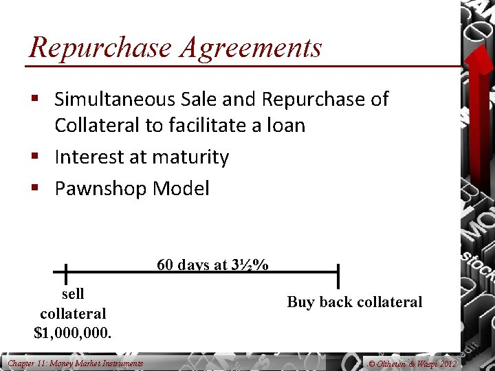 Repurchase Agreements § Simultaneous Sale and Repurchase of Collateral to facilitate a loan §