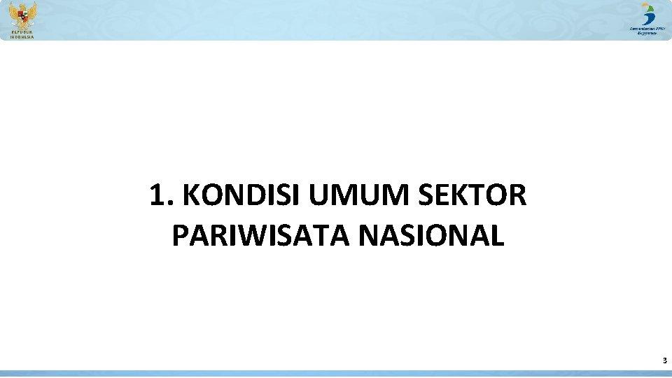 REPUBLIK INDONESIA 1. KONDISI UMUM SEKTOR PARIWISATA NASIONAL 3