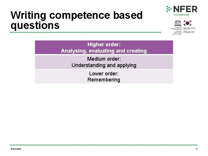 Writing competence based questions Higher order: Analysing, evaluating and creating Medium order: Understanding and