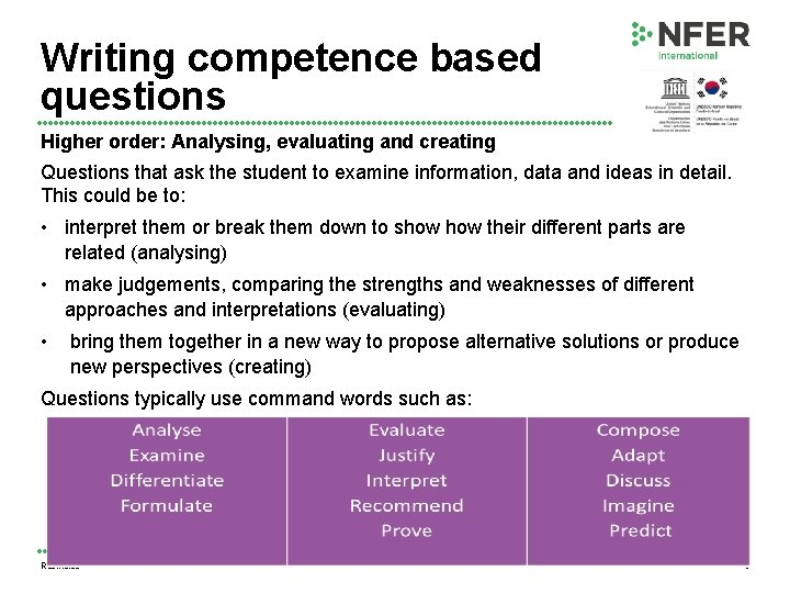 Writing competence based questions Higher order: Analysing, evaluating and creating Questions that ask the