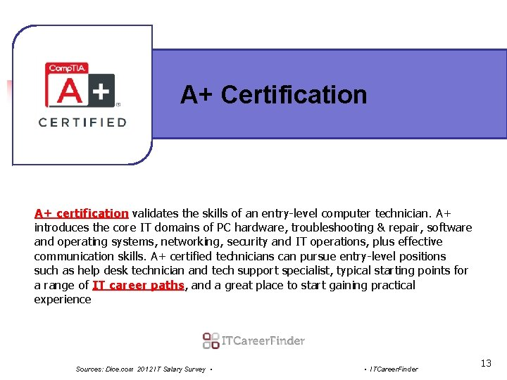 A+ Certification A+ certification validates the skills of an entry-level computer technician. A+ introduces