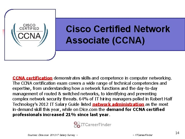 Cisco Certified Network Associate (CCNA) CCNA certification demonstrates skills and competence in computer networking.