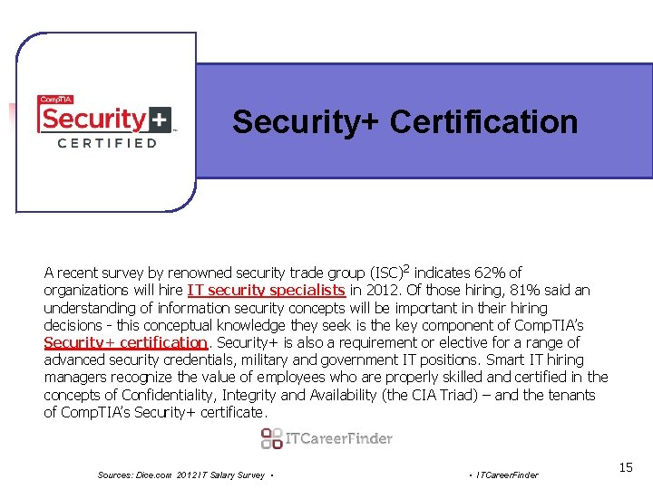 Security+ Certification A recent survey by renowned security trade group (ISC)2 indicates 62% of