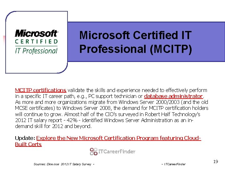 Microsoft Certified IT Professional (MCITP) MCITP certifications validate the skills and experience needed to
