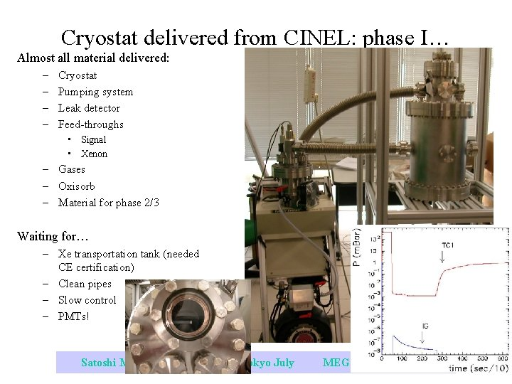Cryostat delivered from CINEL: phase I… Almost all material delivered: – – Cryostat Pumping
