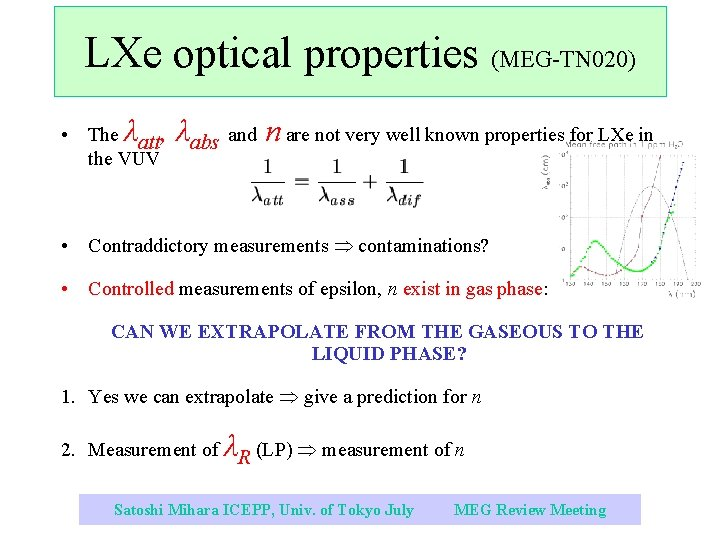 LXe optical properties (MEG-TN 020) • The λatt, the VUV λabs and n are