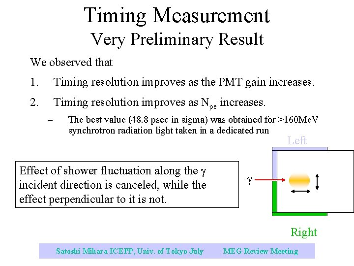 Timing Measurement Very Preliminary Result We observed that 1. Timing resolution improves as the