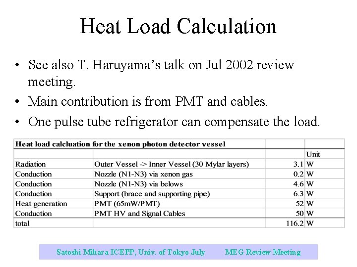 Heat Load Calculation • See also T. Haruyama's talk on Jul 2002 review meeting.