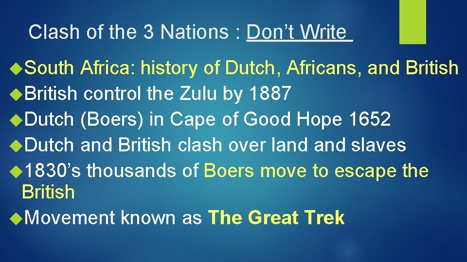 Clash of the 3 Nations : Don't Write South Africa: history of Dutch, Africans,