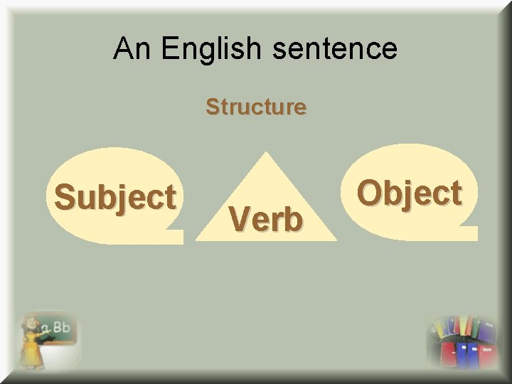 An English sentence Structure Subject Verb Object