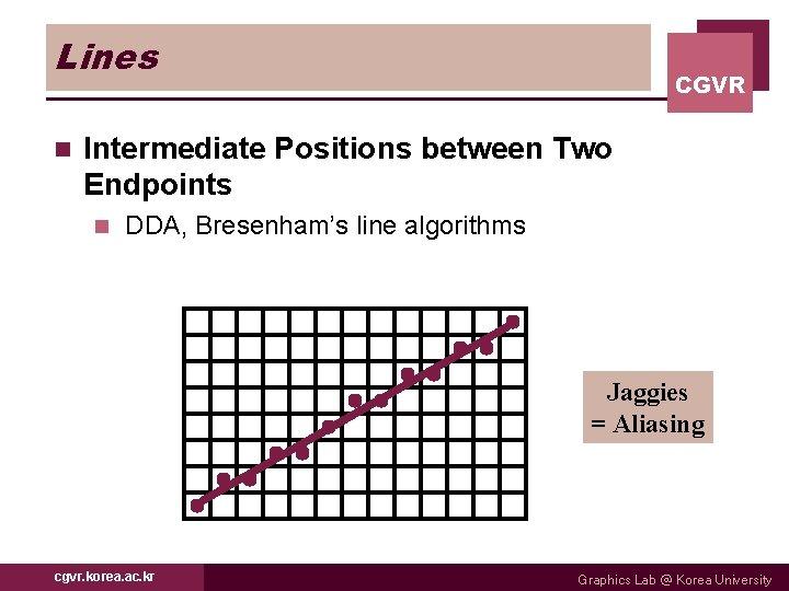 Lines n CGVR Intermediate Positions between Two Endpoints n DDA, Bresenham's line algorithms Jaggies