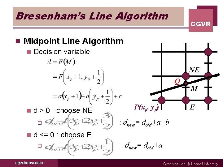 Bresenham's Line Algorithm n CGVR Midpoint Line Algorithm n Decision variable NE Q n
