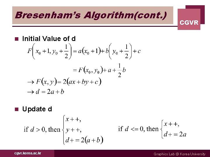 Bresenham's Algorithm(cont. ) n Initial Value of d n Update d cgvr. korea. ac.