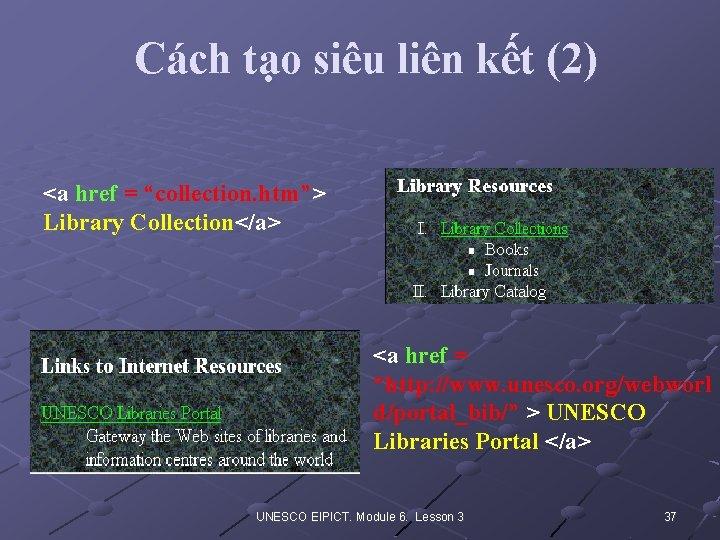 "Cách tạo siêu liên kết (2) <a href = ""collection. htm""> Library Collection</a> <a"