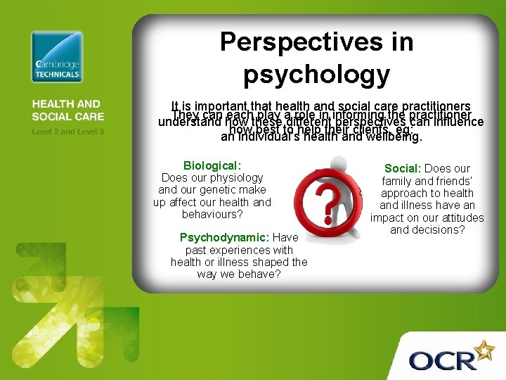 Perspectives in psychology It is important that health and social care practitioners They can
