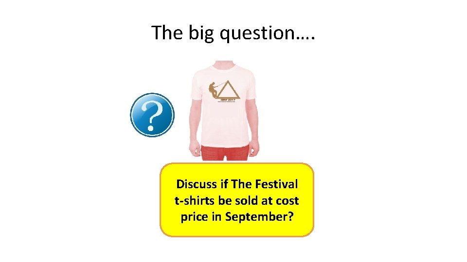 The big question…. Discuss if The Festival t-shirts be sold at cost price in