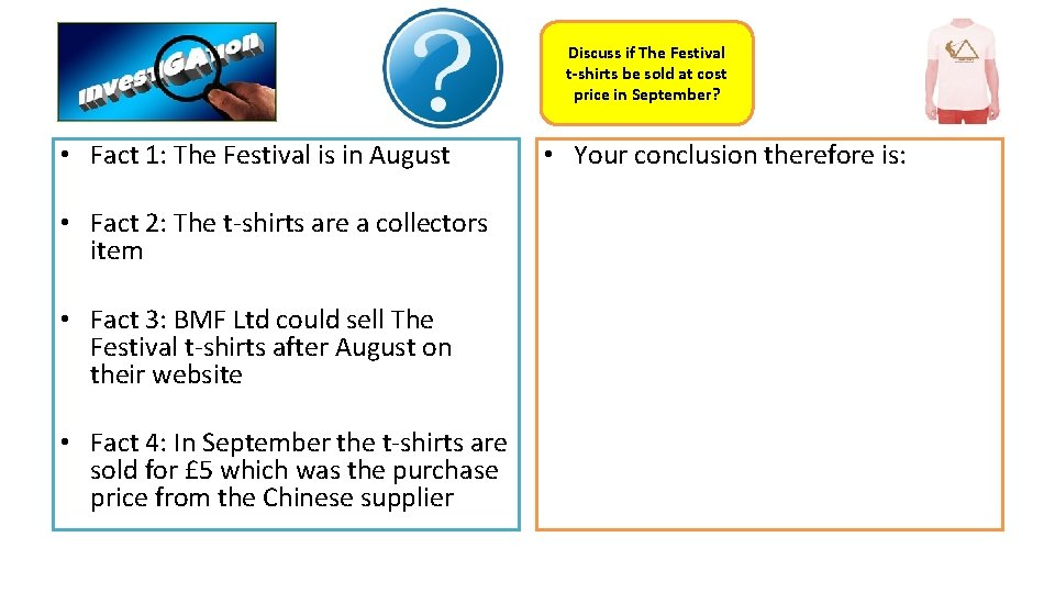 Discuss if The Festival t-shirts be sold at cost price in September? • Fact