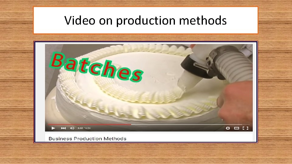 Video on production methods