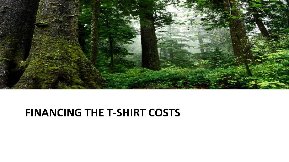 FINANCING THE T-SHIRT COSTS