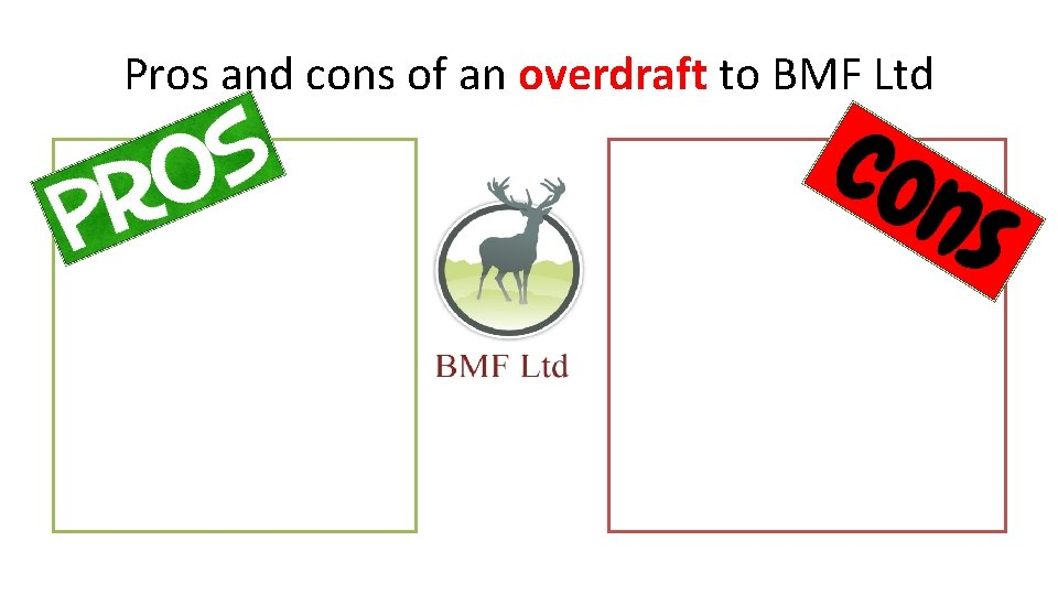 Pros and cons of an overdraft to BMF Ltd
