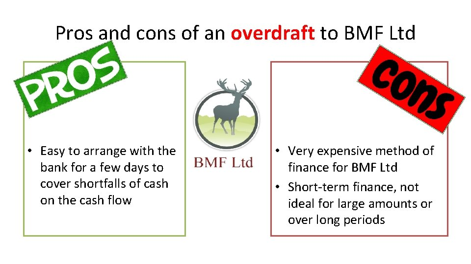 Pros and cons of an overdraft to BMF Ltd • Easy to arrange with