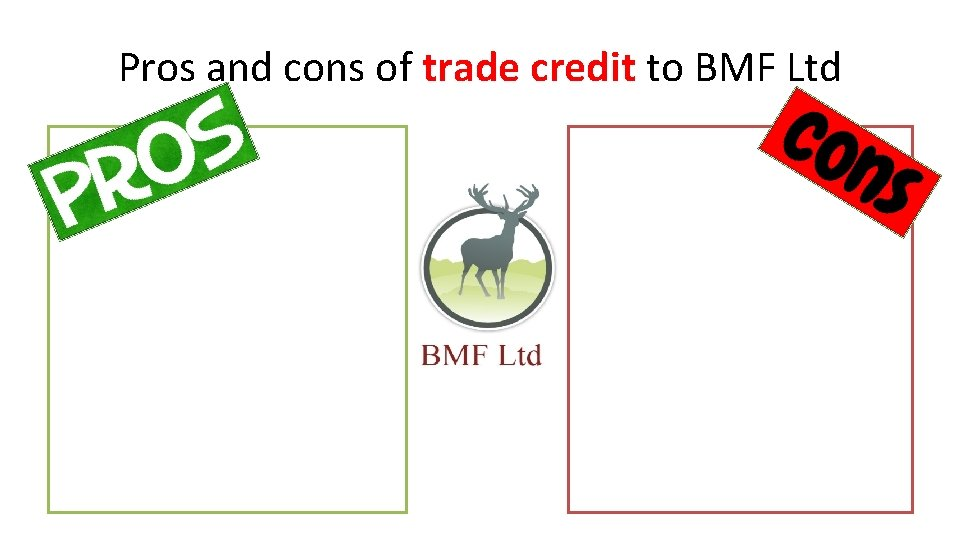 Pros and cons of trade credit to BMF Ltd