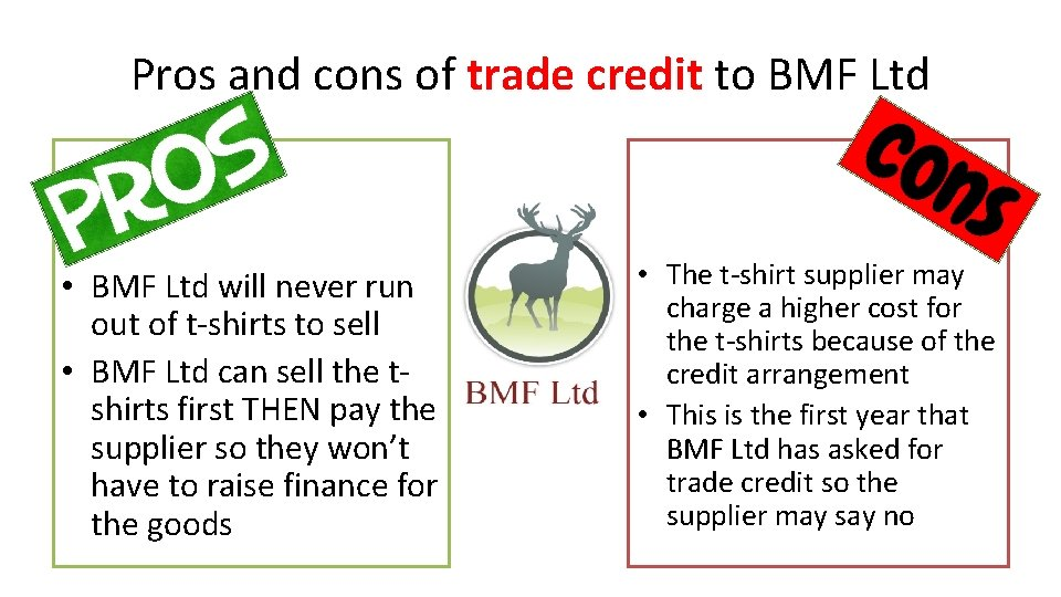 Pros and cons of trade credit to BMF Ltd • BMF Ltd will never