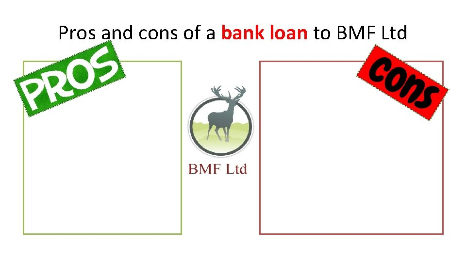 Pros and cons of a bank loan to BMF Ltd