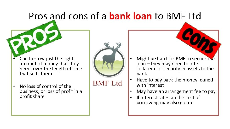 Pros and cons of a bank loan to BMF Ltd • Can borrow just