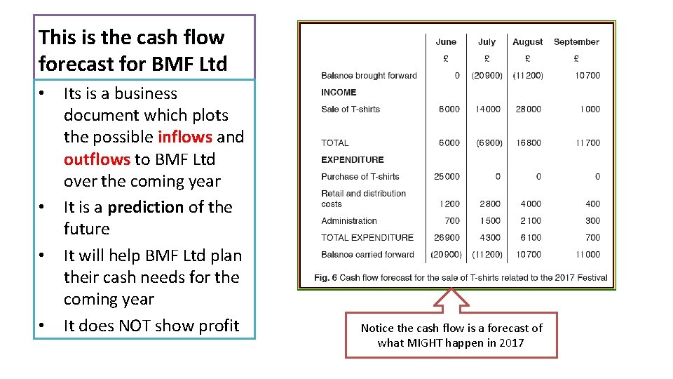 This is the cash flow forecast for BMF Ltd • • Its is a