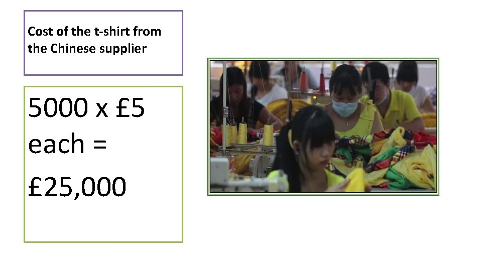 Cost of the t-shirt from the Chinese supplier 5000 x £ 5 each =