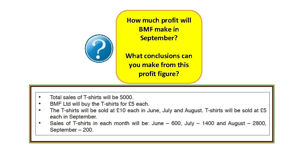 How much profit will BMF make in September? What conclusions can you make from