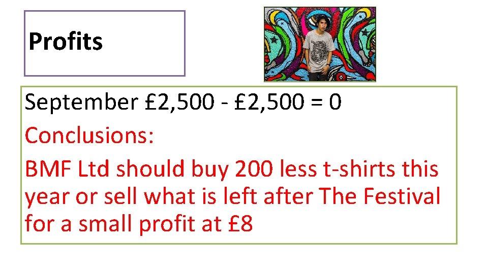 Profits September £ 2, 500 - £ 2, 500 = 0 Conclusions: BMF Ltd