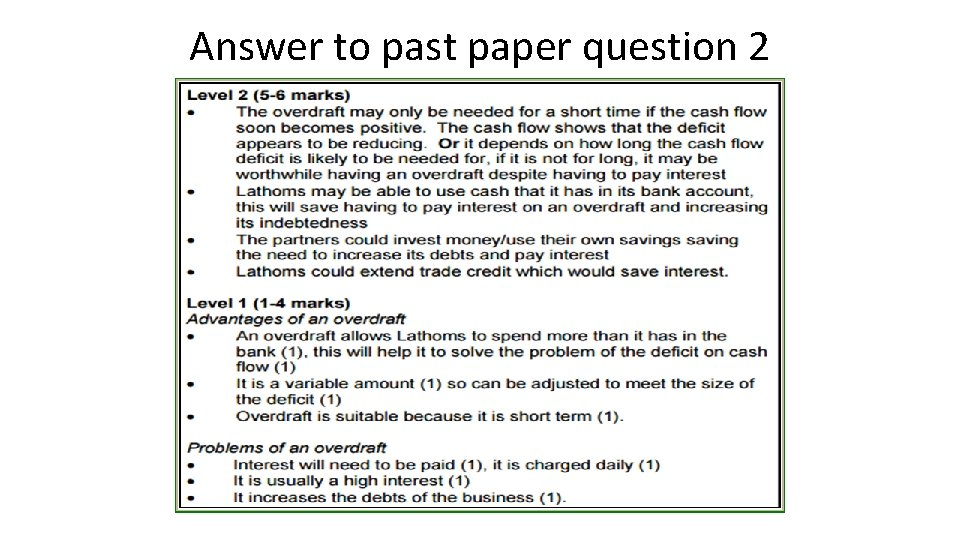 Answer to past paper question 2