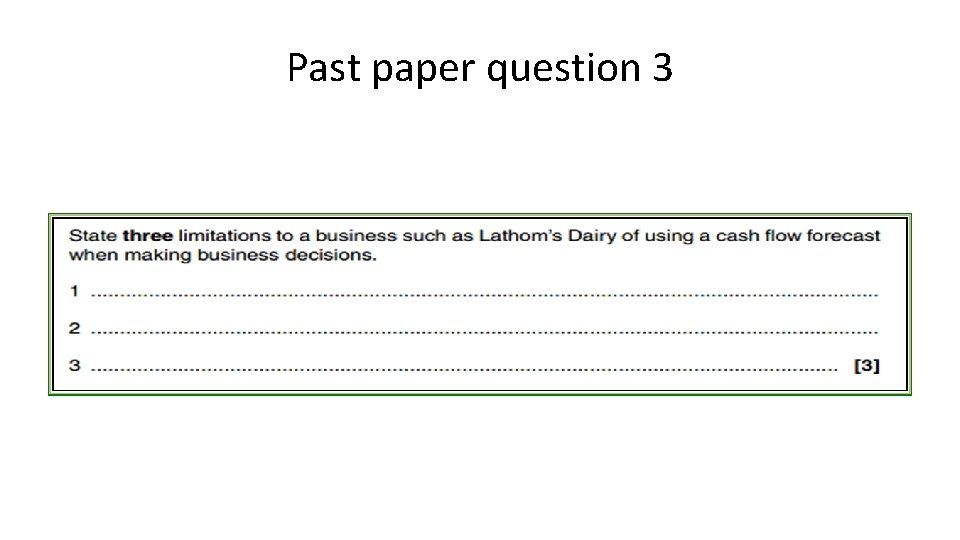 Past paper question 3