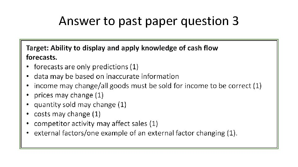 Answer to past paper question 3