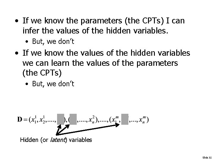 • If we know the parameters (the CPTs) I can infer the values