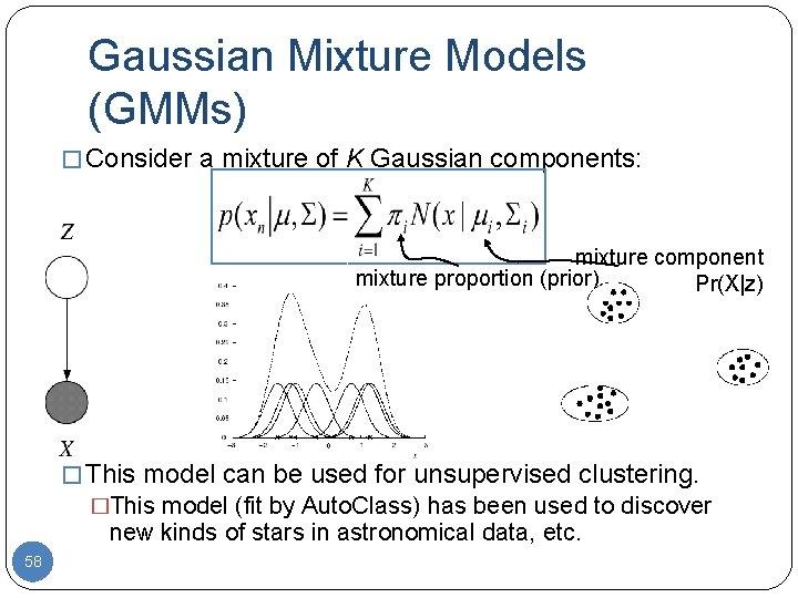 Gaussian Mixture Models (GMMs) � Consider a mixture of K Gaussian components: mixture component